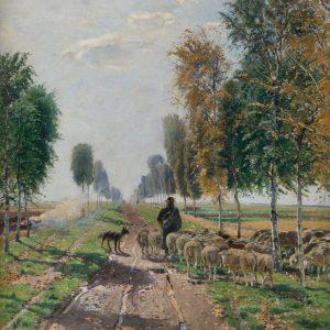 Hugo Mühlig: Shepherd on the birch avenue